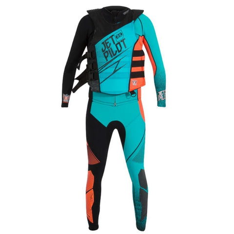 2018 Jetpilot Matrix 3 Race Suit And Vest - Teal/Orange