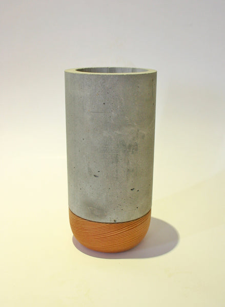 Concrete and Wood Vase