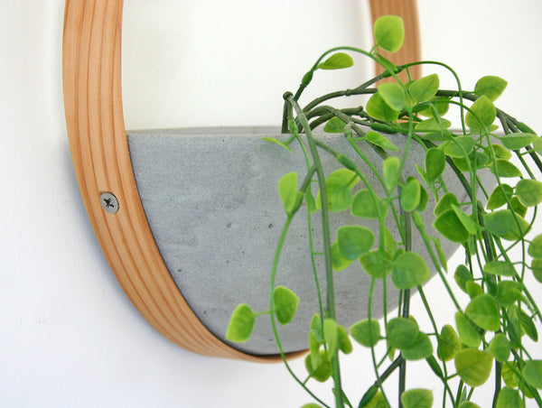 Wood and Concrete Wall Planter