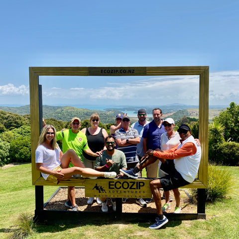 Our Team Ziplining on Waiheke
