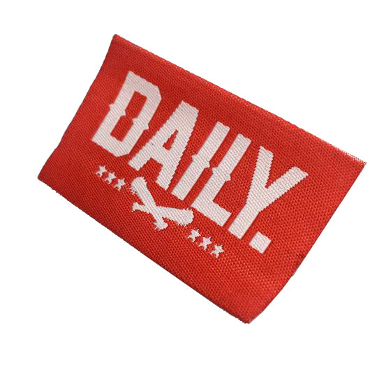 raised text woven label 50D 300 custom woven label embossed text high definition