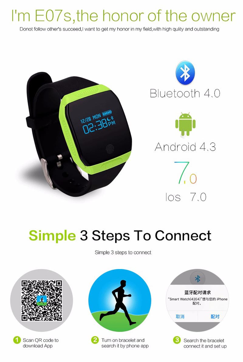 Wonlex E07S Waterproof Bluetooth Smart Bracelet Fitness Tracker