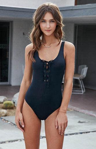 IBIZA, lace-up one-piece swimsuit, black