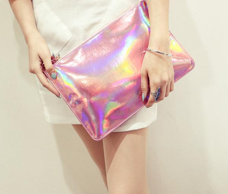 MERMAID Hologram Clutch, pink