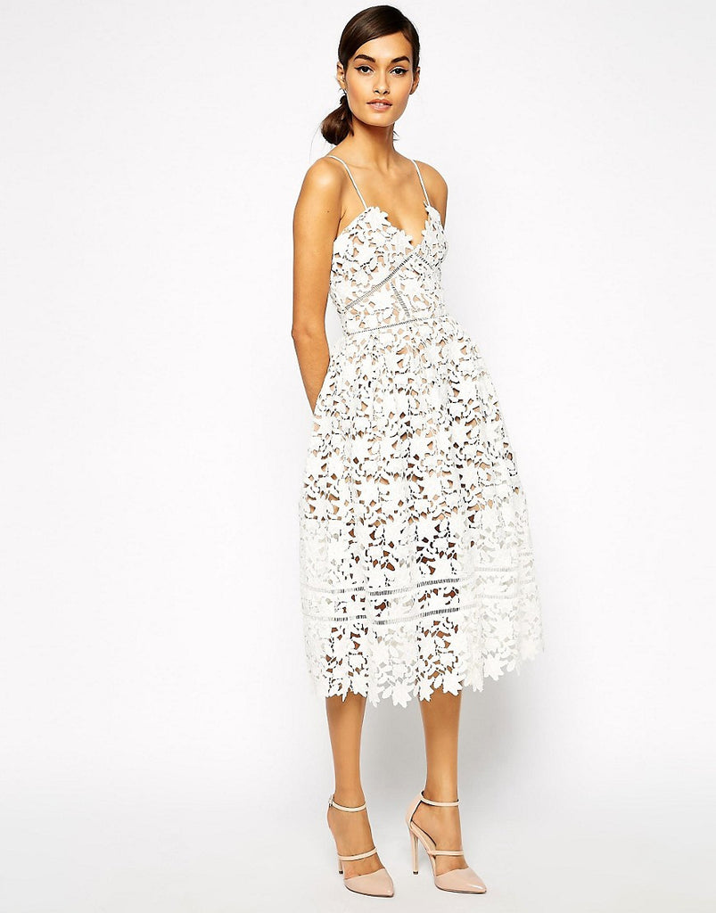 HAMPTONS mid length dress, white