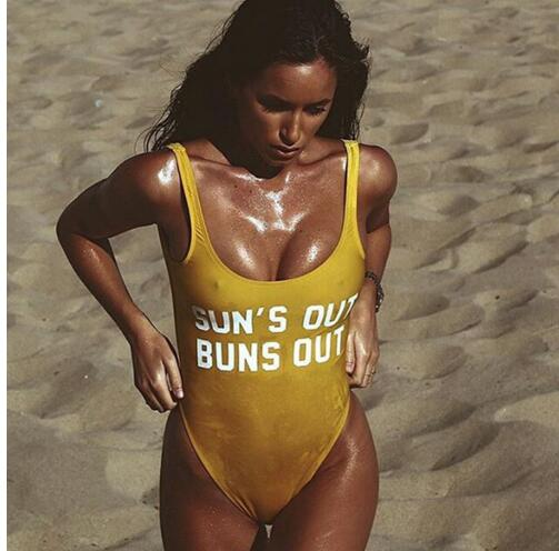 SUN'S OUT BUNS OUT swimsuit, yellow