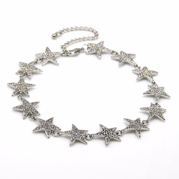 GALAXY Star strung choker necklace, silver