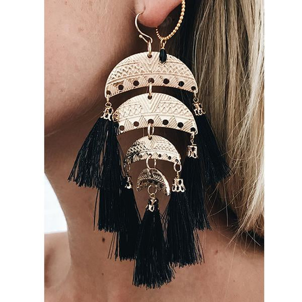 SUMMER NIGHTS, tassel earrings, black