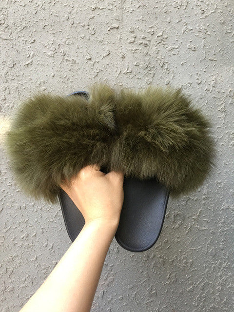 META Fur Slides, army green