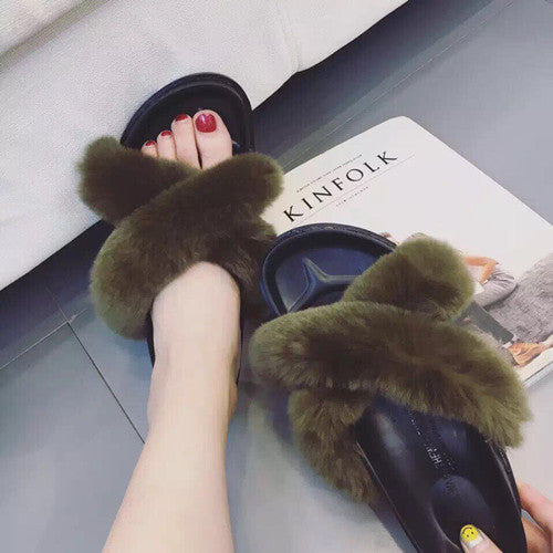 SAL Fur Slides, army green