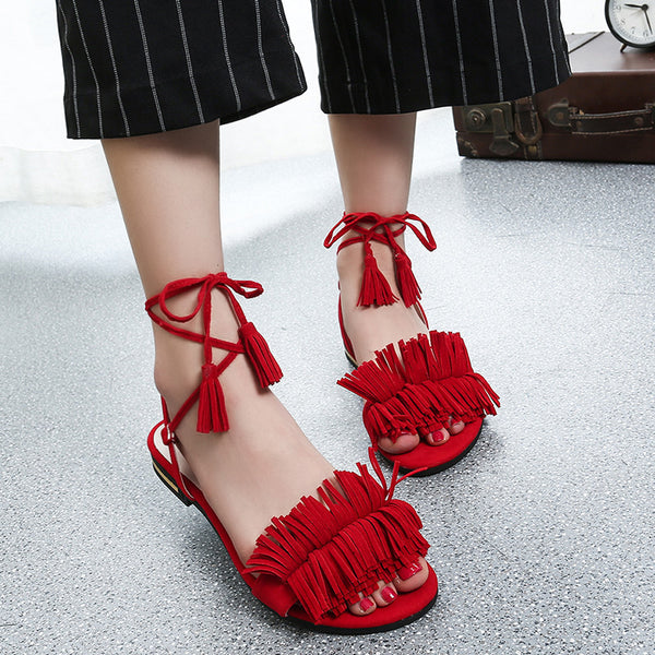 FRINGE LACE-UP FLAT sandals, red
