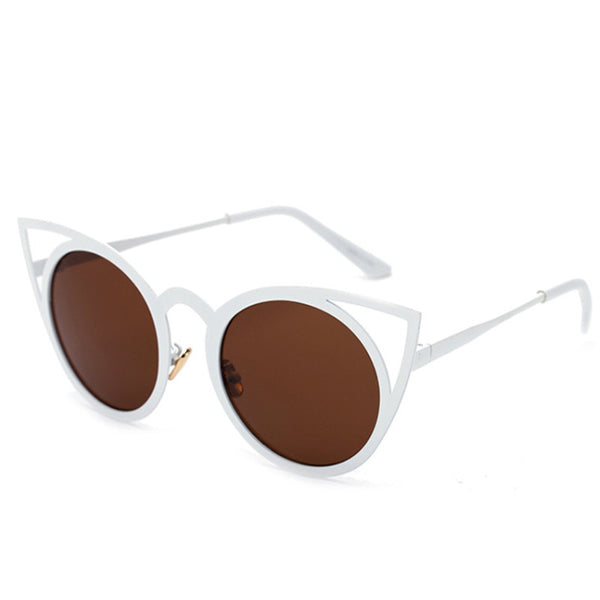 VENUS mirror sunglasses, white / coffee