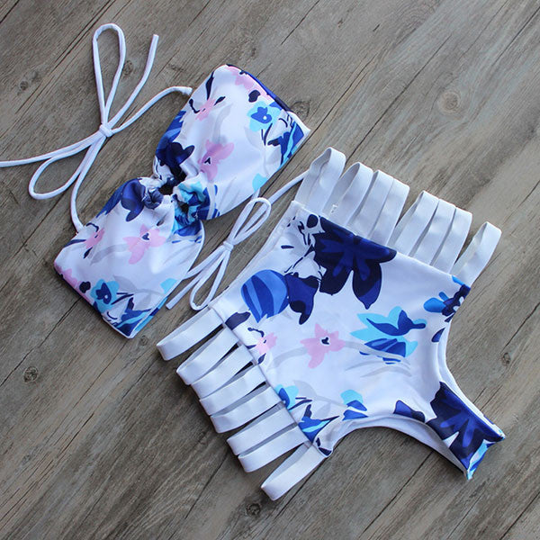 LALA cutout high waist bikini, white and blue