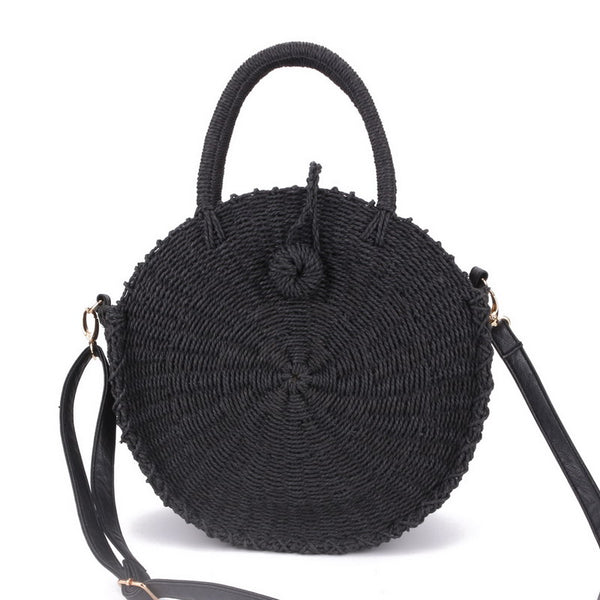 Sunday woven handbag, leather strap, black