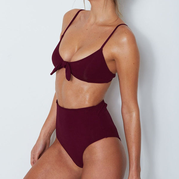 BONNIE, HIGH WAIST BIKINI, BURGUNDY