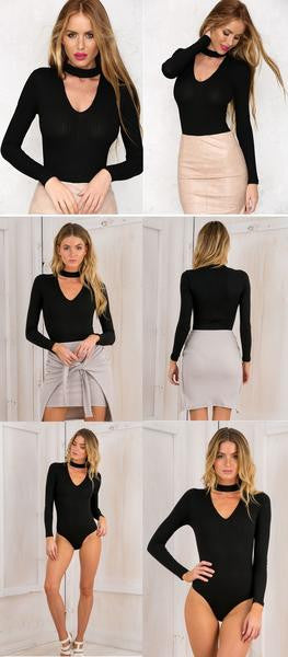 Choker bodysuit, black