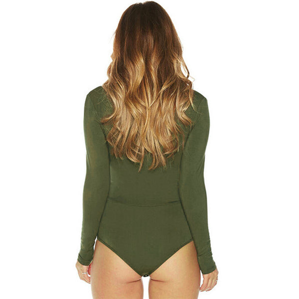 OPEN SPACES lace-up bodysuit, army green