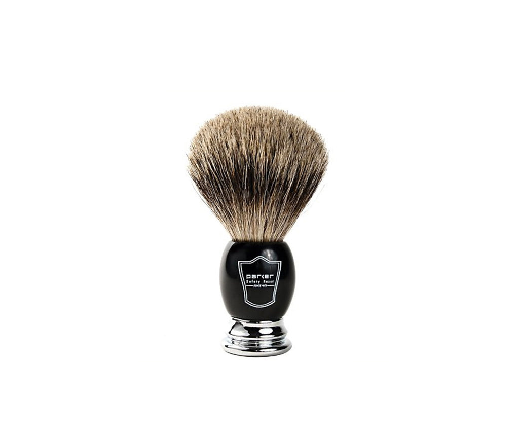 PARKER BLACK & CHROME HANDLE SYNTHETIC SHAVING BRUSH (Stand included)