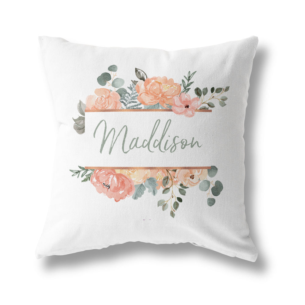 PEACH FLORAL CUSHION