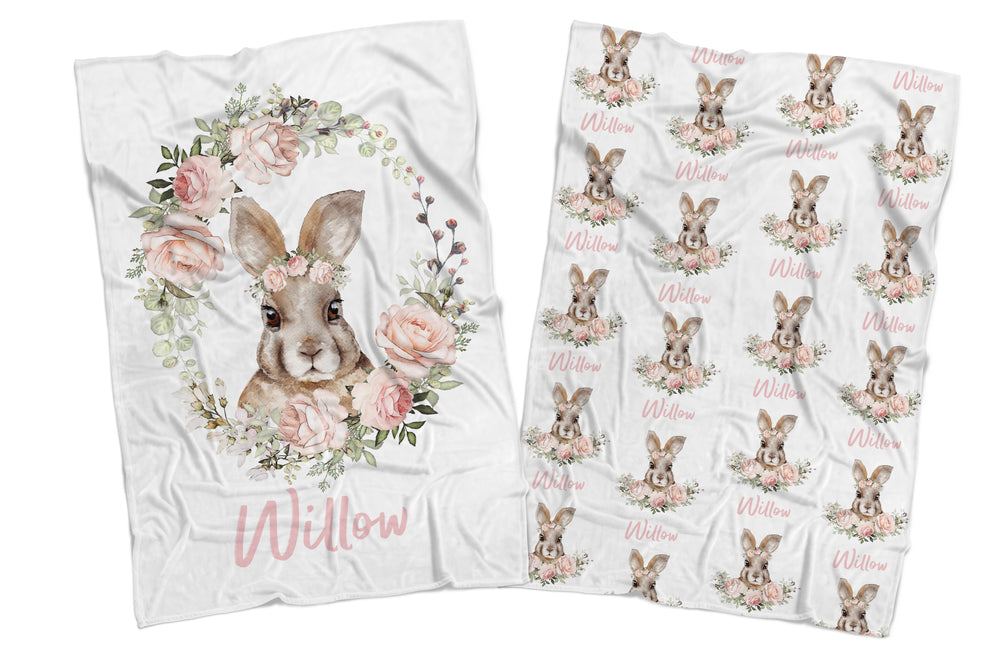 FLOWER BUNNY REVERSIBLE BLANKET