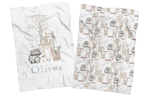 WOODLAND ANIMALS REVERSIBLE BLANKET