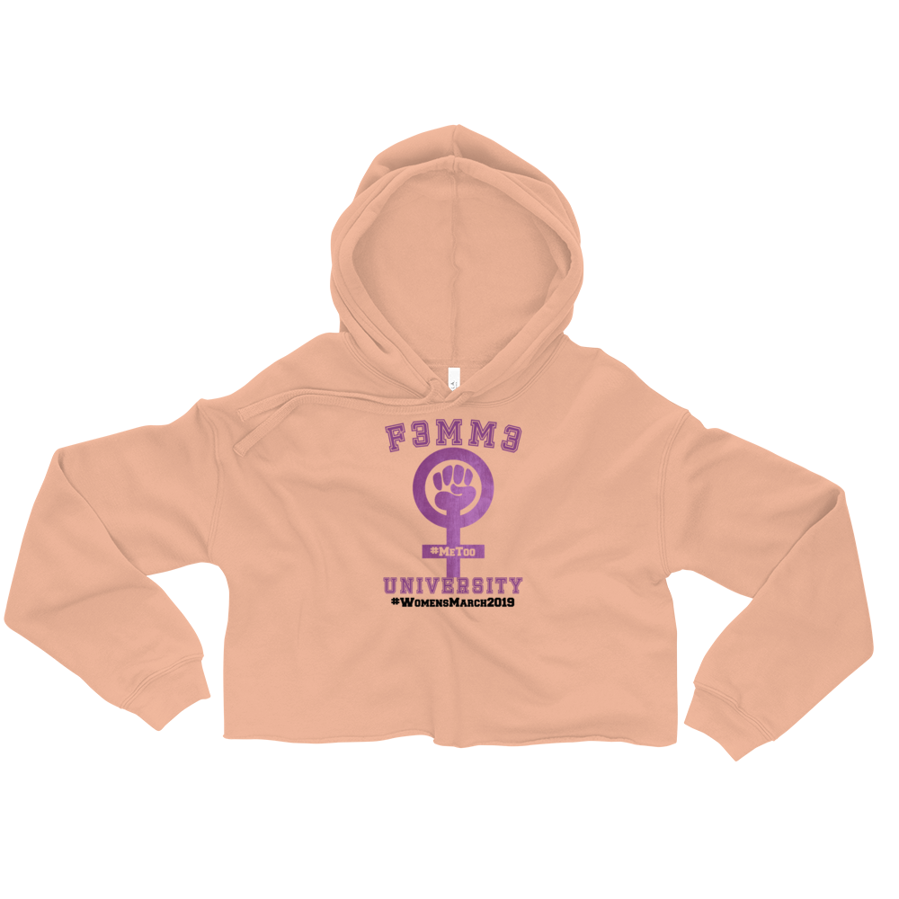 F3MM3 UNIVERSITY #WomensMarch2019 CROP TOP HOODIE PEACH