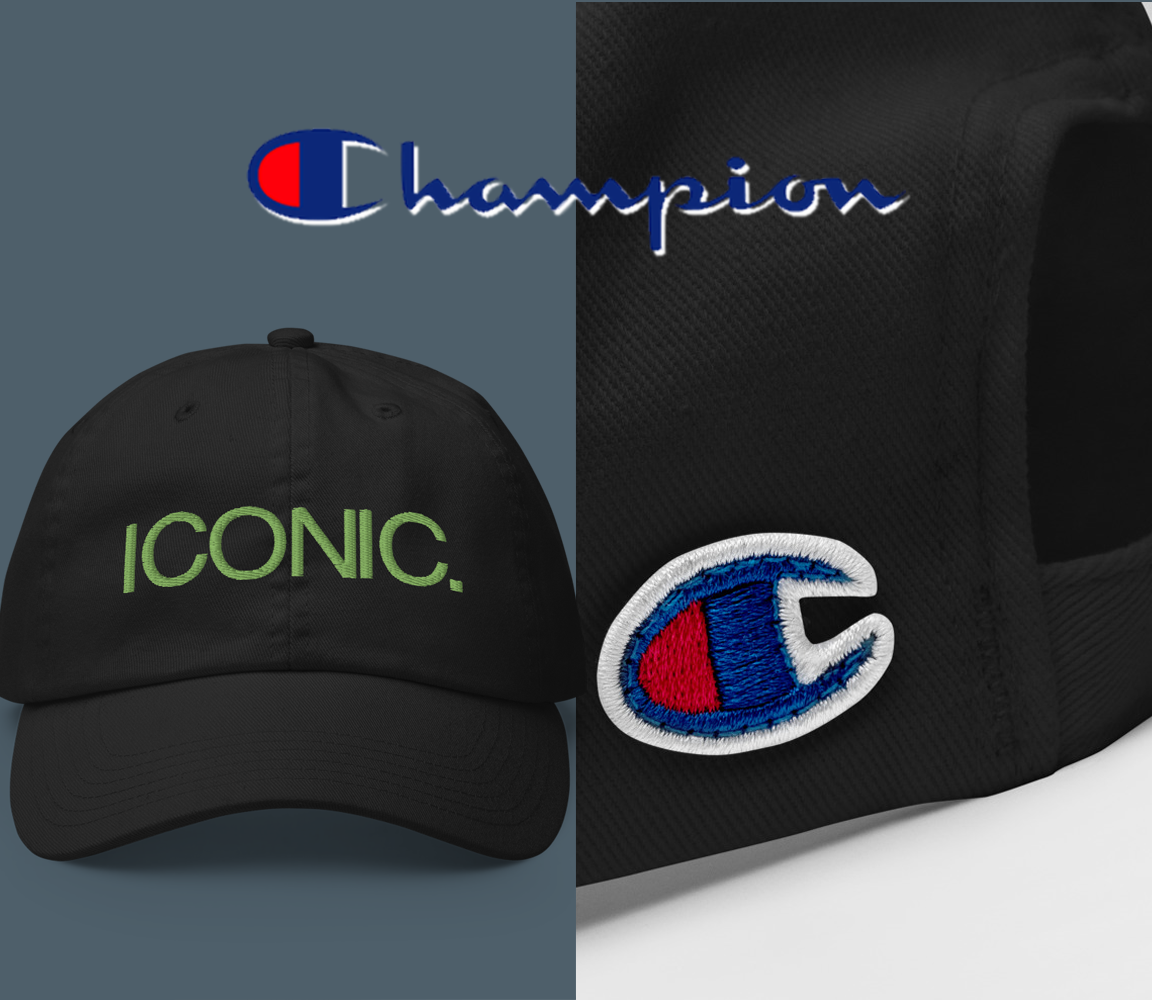 CHAMPION + ROYAL ICONIC. | Embroidered Logo Unisex Classic Cap Dad Hat Mom Cap Black w/ Kiwi Green Thread
