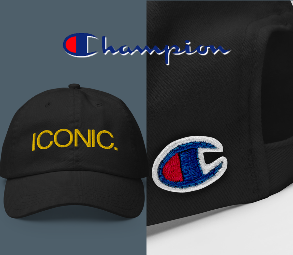 CHAMPION + ROYAL ICONIC. | Embroidered Logo Unisex Classic Cap Dad Hat Mom Cap Black w/ Gold Thread
