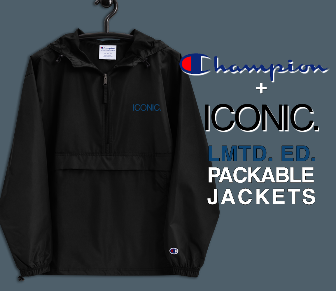 CHAMPION + ROYAL ICONIC. | Embroidered Logo Unisex Hooded Packable Windbreaker Lite Coaches Jacket Black w/ Royal Blue Logo