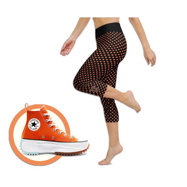 Sunblocked Run Star Hike Orange Soda Smoky Spotlight Halftone Dot Capri Yoga Leggings