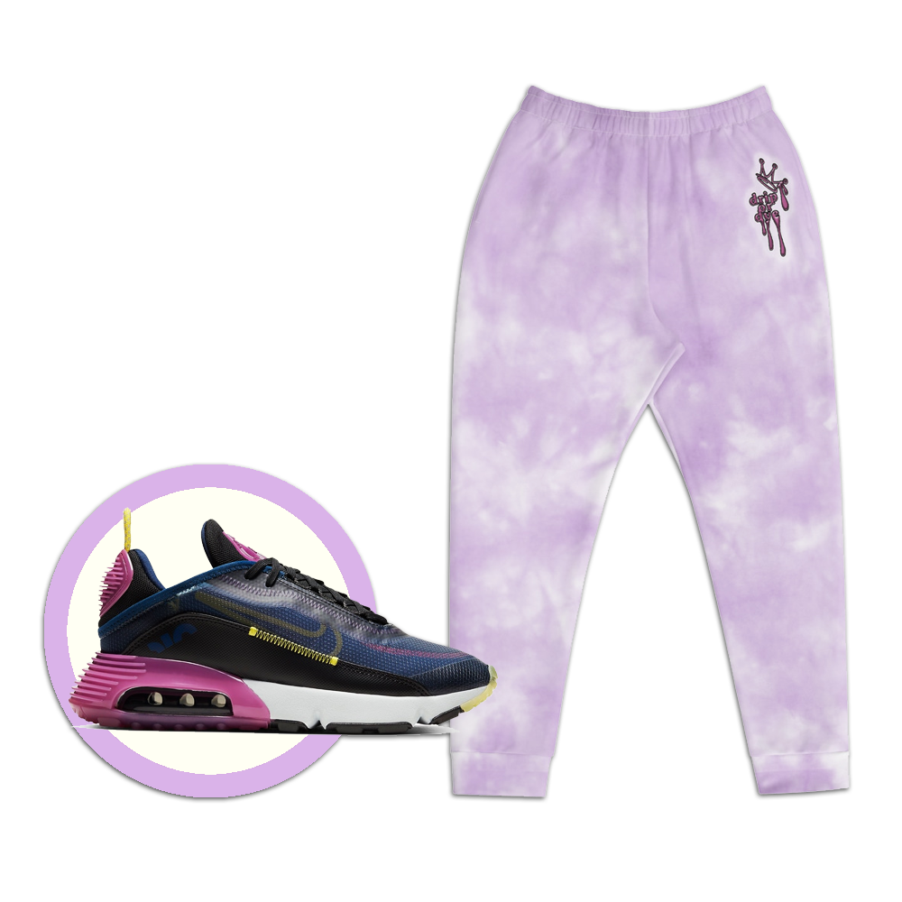 CRXWN | Drip or Dye Violet Photon Dust Ice Dye UNISEX Jogger Hearts Around the World Live Love Laugh