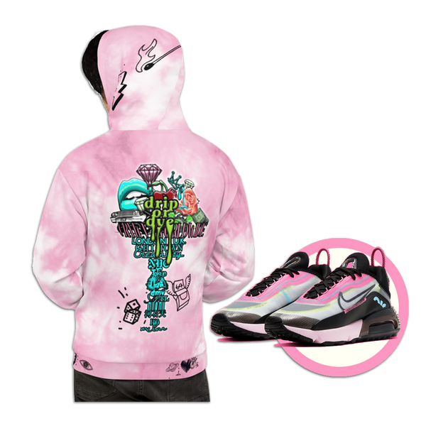 CRXWN | Drip or Dye Miami Nights Pink Foam Ice Dye UNISEX Hoodie Hearts Around the World Live Love Laugh