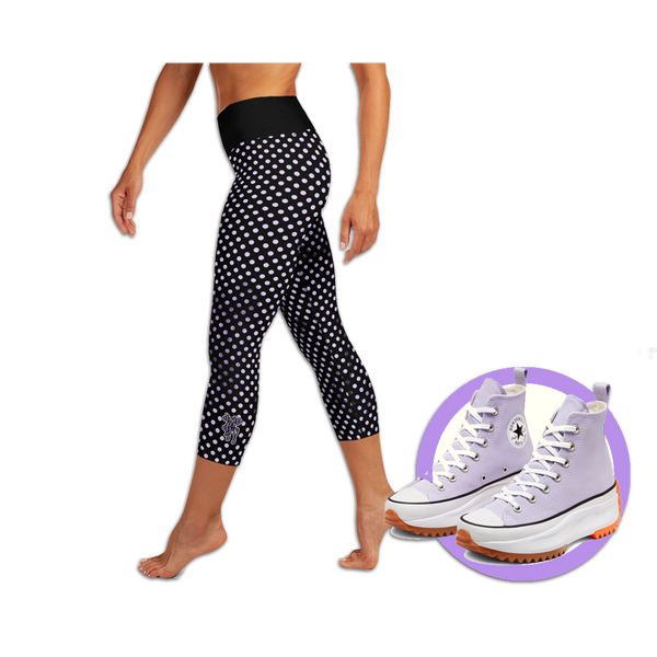 Sunblocked Run Star Hike Pastel Purple Smoky Spotlight Halftone Dot Capri Yoga Leggings