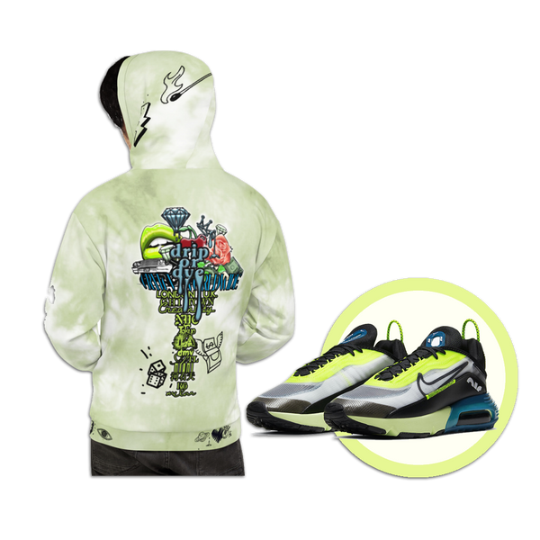 CRXWN | Drip or Dye Moss Green Ice Dye UNISEX HOODIE Hearts Around the World Live Love Laugh