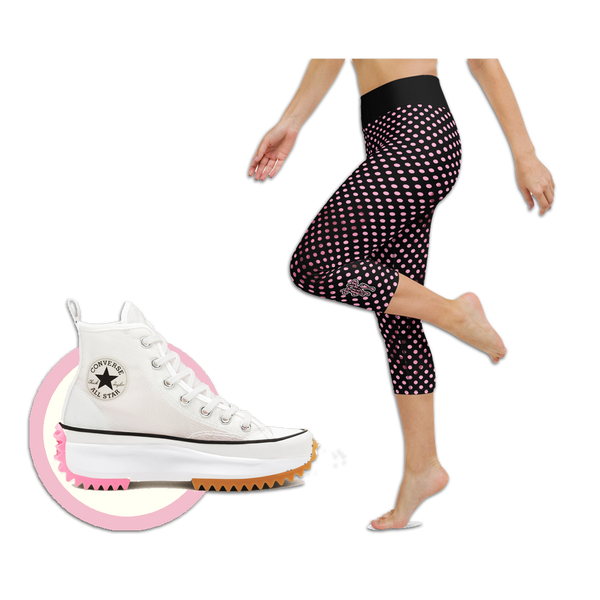 Sunblocked Run Star Hike Pretty in Pink Smoky Spotlight Halftone Dot Capri Yoga Leggings
