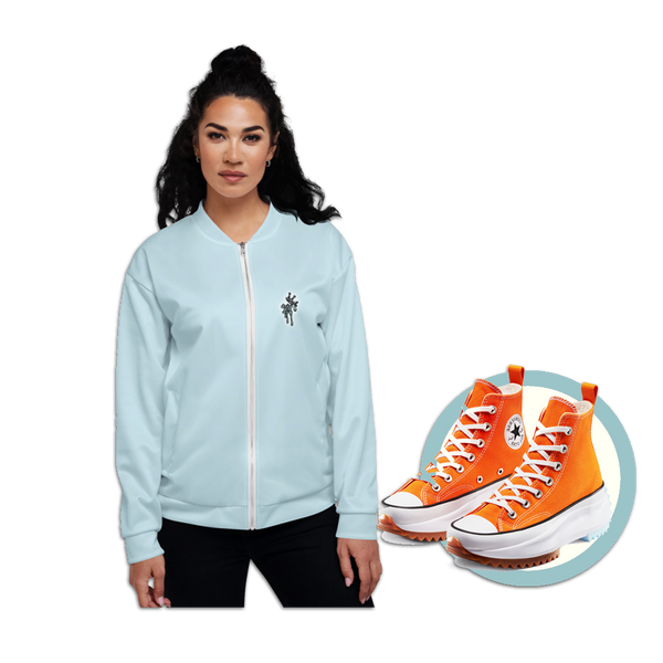 CRXWN | Drip or Dye Sunblocked Run Star Hike Sky Blue Solid UNISEX Bomber Jacket
