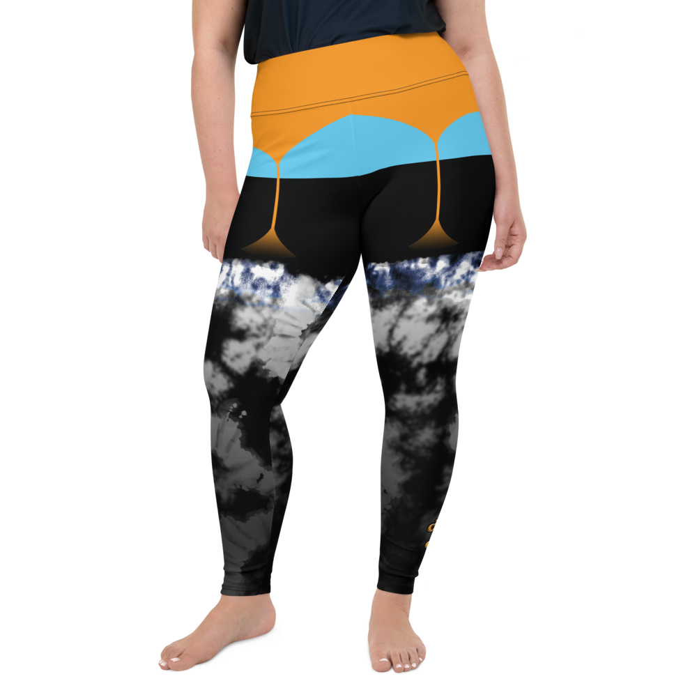 CRXWN | Drip or Dye 4 Retro Black Cat HER Collection Acid Wash Tye Dye Plus Size Fun Faux Garter Yoga Leggings