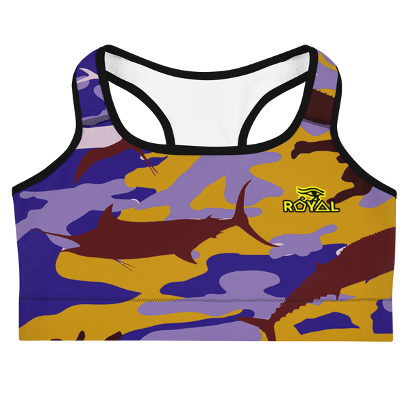 ROYAL. |  Urban Resort | FUTURE TRIBE Eye of Ra Fashion Sports Bra CAMO NEON 2 PURPLE ATLANTIS