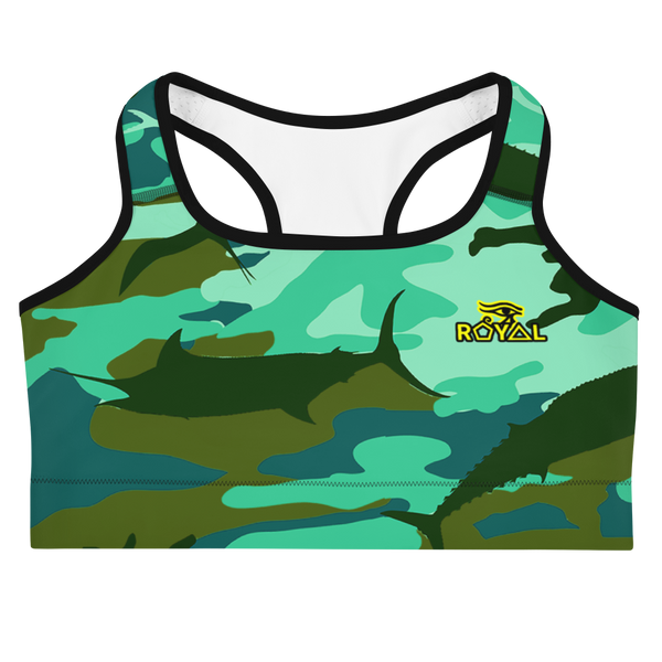 ROYAL. |  Urban Resort | FUTURE TRIBE Eye of Ra Fashion Sports Bra CAMO NEON 2 TEAL ATLANTIS