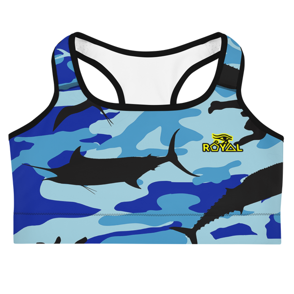 ROYAL. |  Urban Resort | FUTURE TRIBE Eye of Ra Fashion Sports Bra CAMO NEON 2 BLUE ATLANTIS