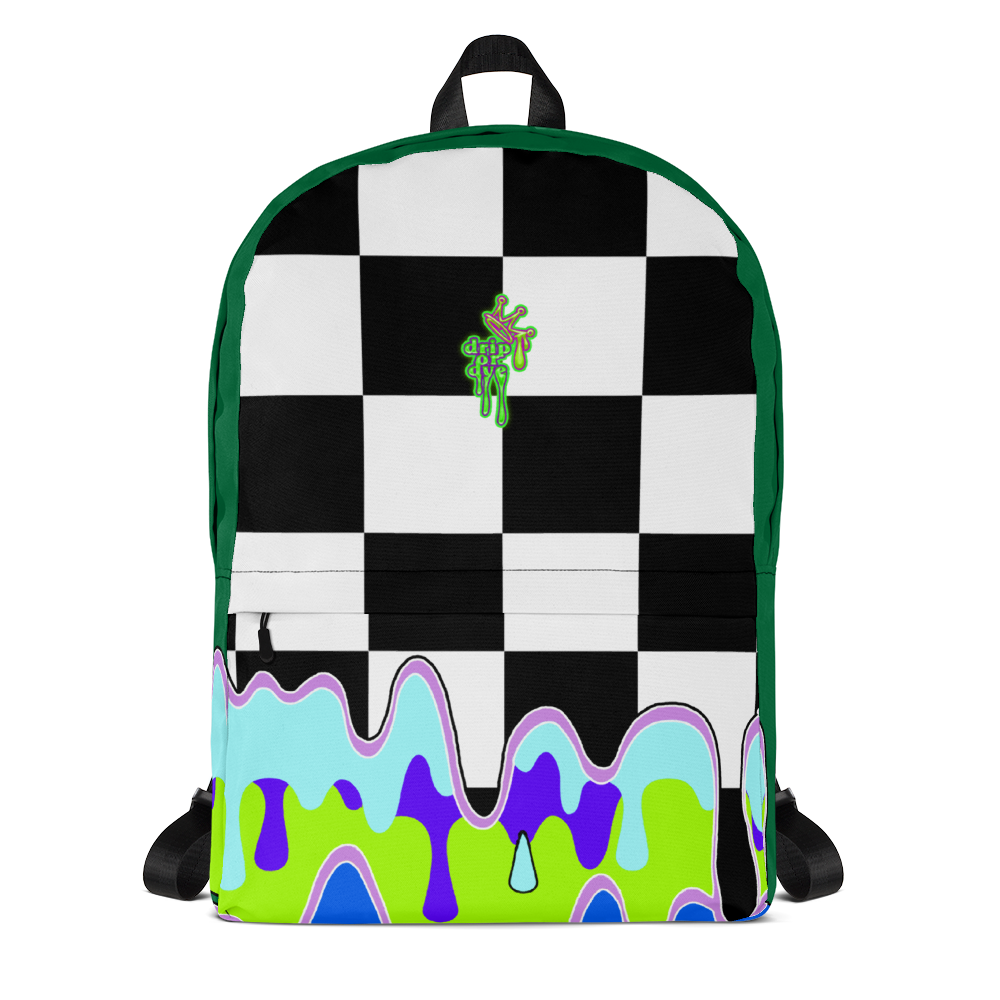 DRIP OR DYE | Checker Drip Backpack Pine Forest Green