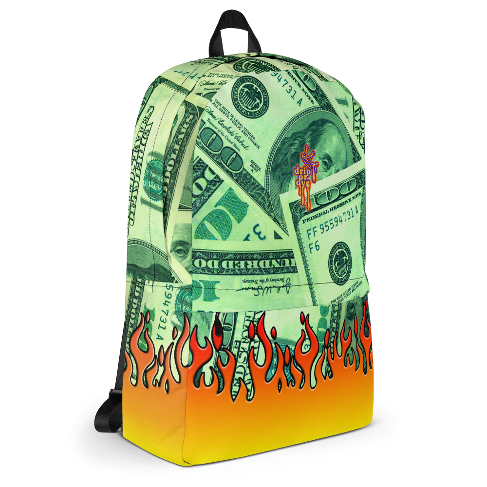 DRIP OR DYE | Money Flames Cash 2 Burn Bag of Money Manifest Backpack Lava Guap