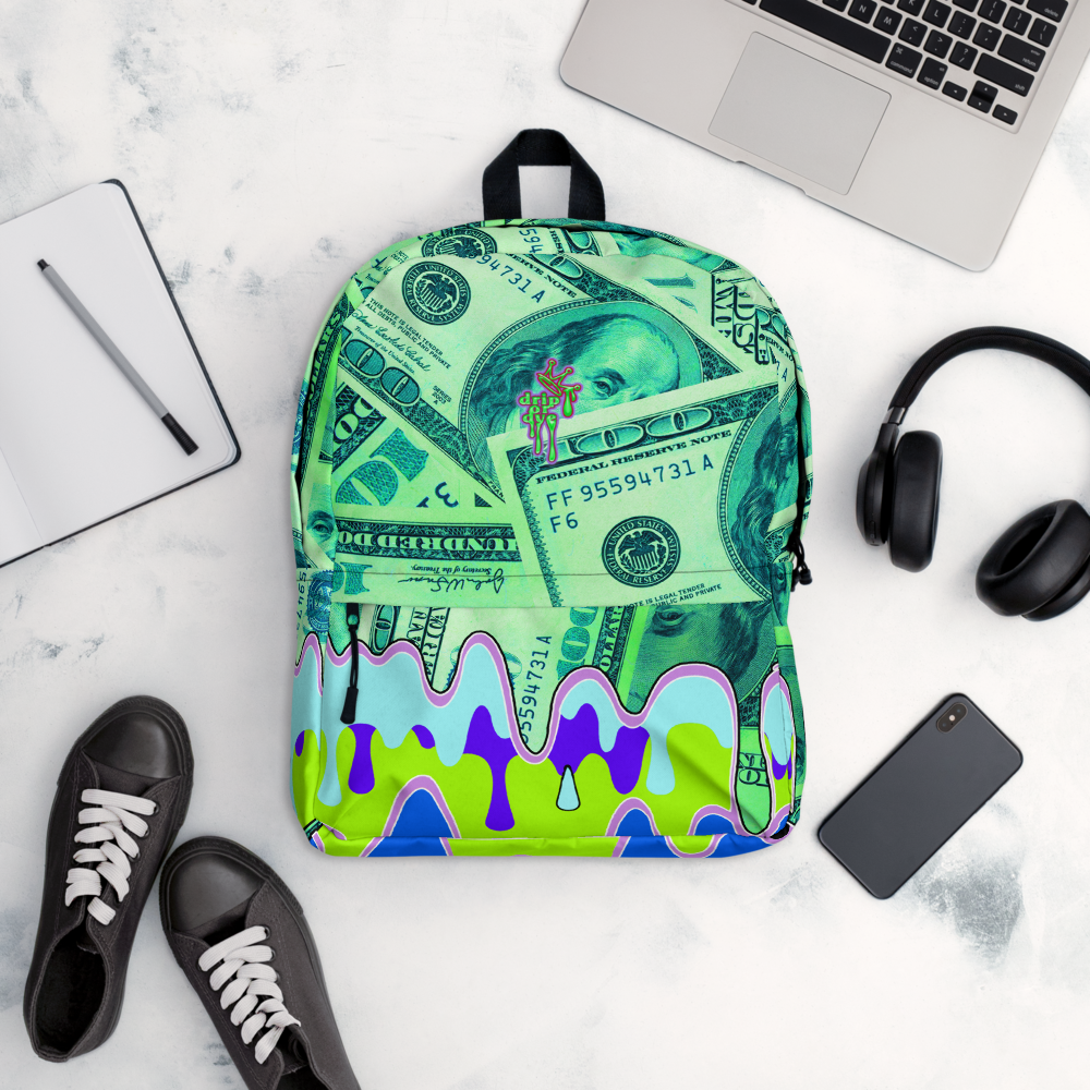 DRIP OR DYE | Money Drip Cash Bag of Money Manifest Backpack Monsta Neon Green