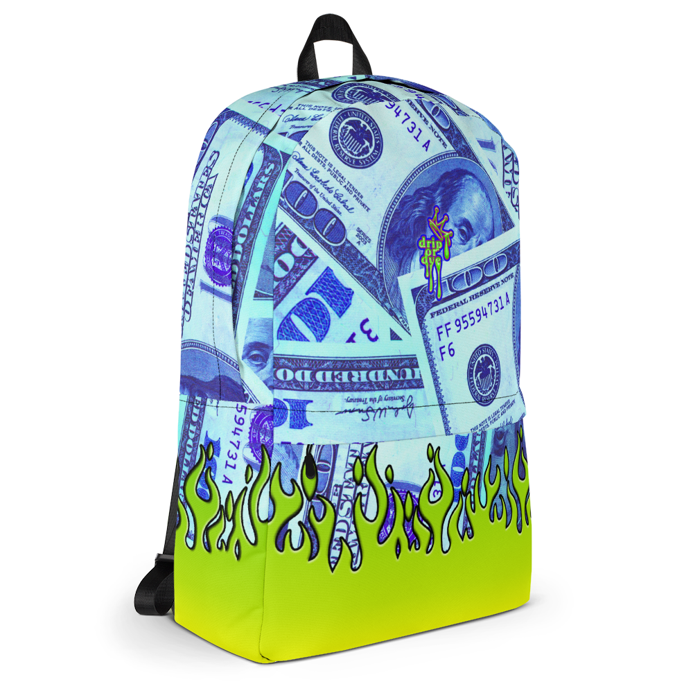 DRIP OR DYE | Money Flames Cash 2 Burn Bag of Money Manifest Backpack Alien Blueface