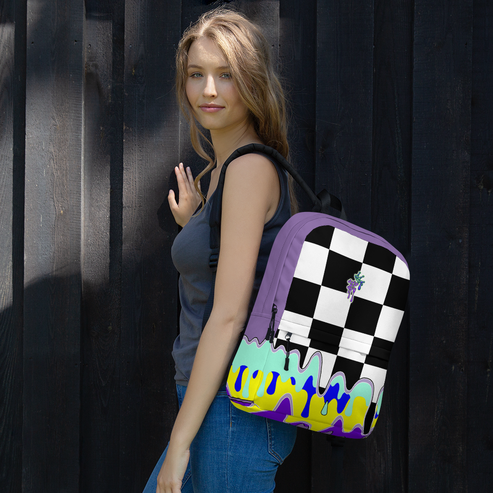 DRIP OR DYE | Checker Drip Backpack Purple Reign