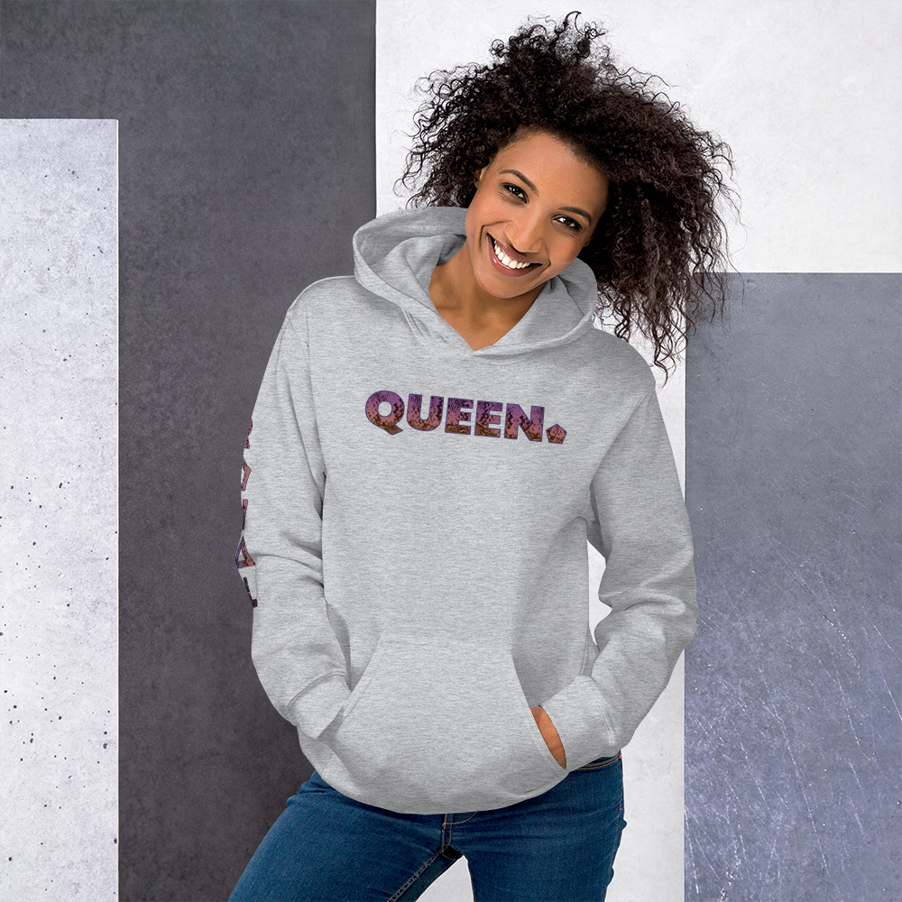 ROYAL. WEAR | HUMAN-IMAL QUEEN COBRA HOODIE PURPLE GRADIENT WH & SPORTS GREY VARIETY
