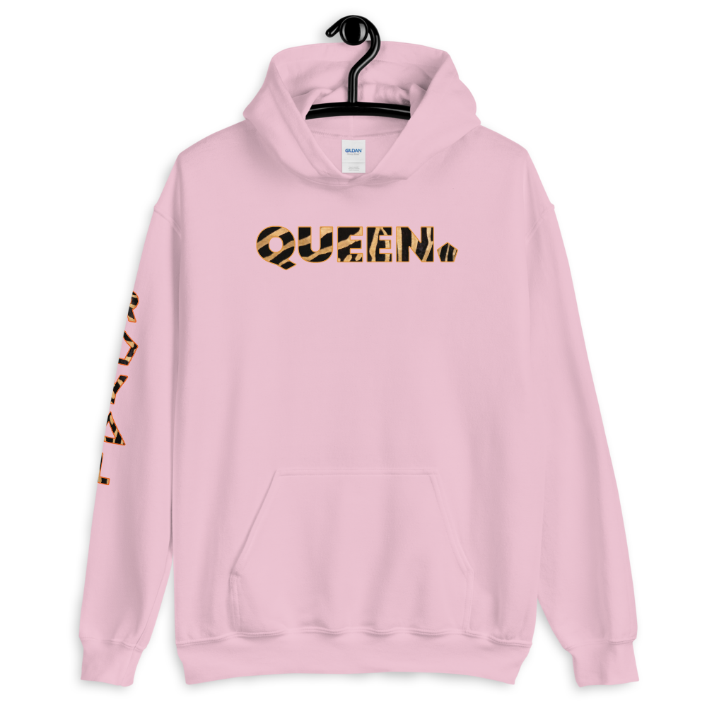 ROYAL. WEAR | HUMAN-IMAL QUEEN STATEMENT HOODIE BROWN ZEBRA VARIETIES