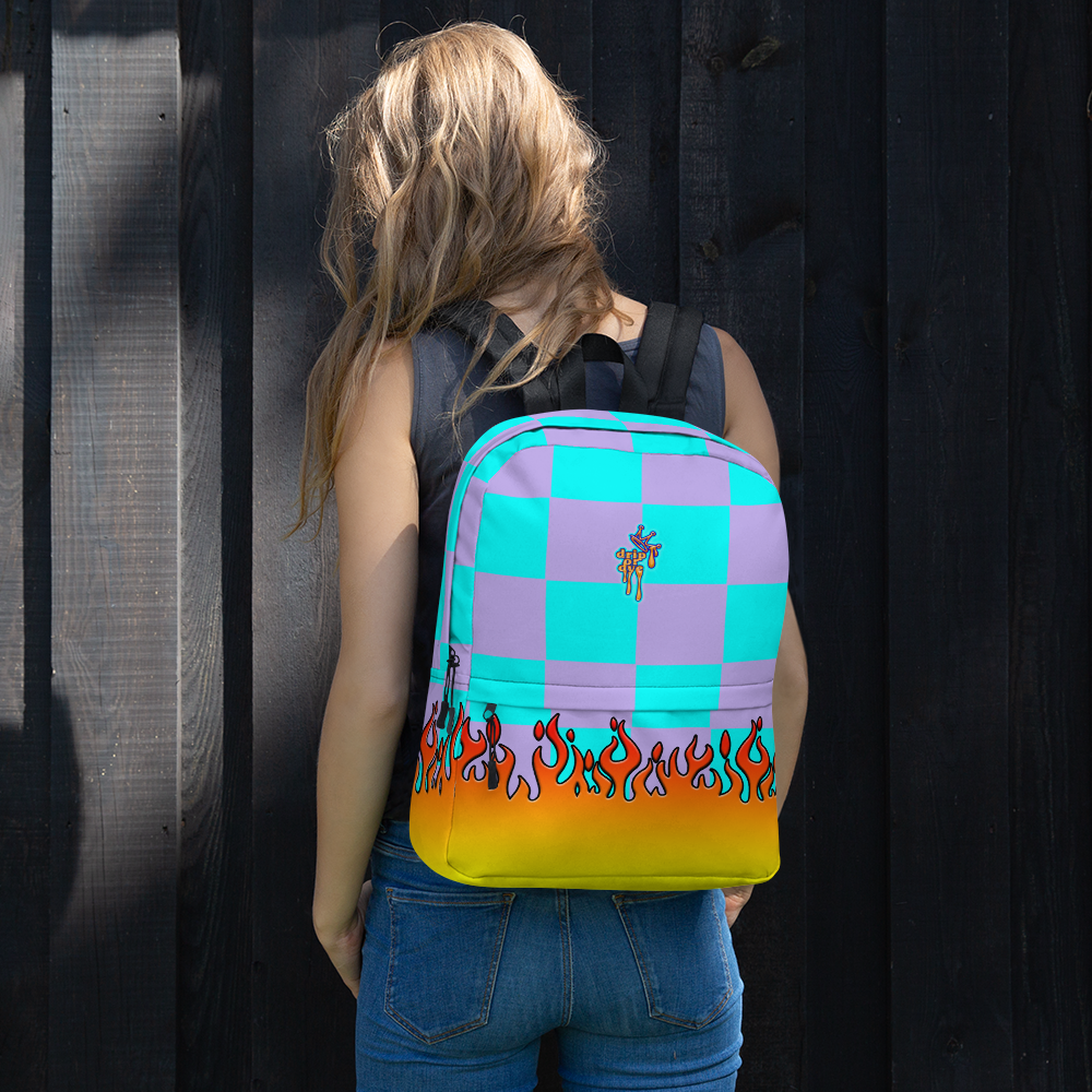 DRIP OR DYE | Checker Flames Backpack Multicolor Violet Sky Blue Carnival