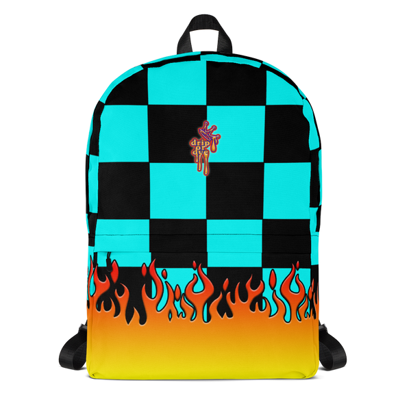 DRIP OR DYE | Checker Flames Backpack Trippy Teal