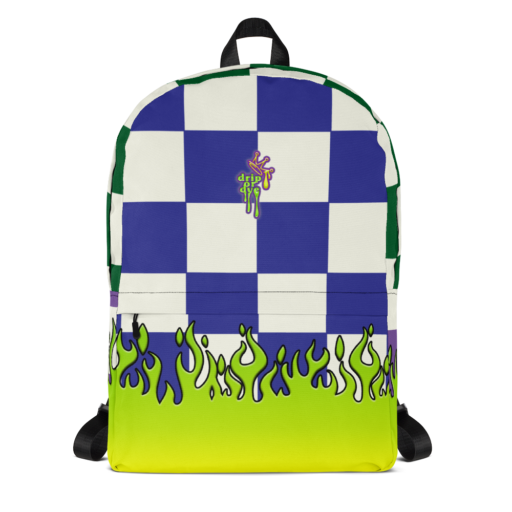 DRIP OR DYE | Checker Flames Color Block Backpack Alien Green Royal Blue Forest Green Purple